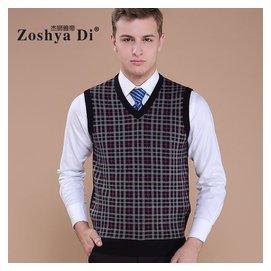 2014 商務男裝V領羊毛衫中年加厚針織馬甲男士毛背心 羊毛坎肩