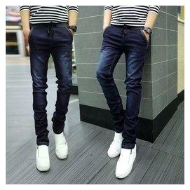 鼕季男裝牛仔褲男 潮修身顯瘦直筒加絨加厚小腳青年 褲