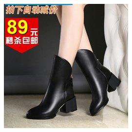 秋鼕達芙妮短靴真皮女靴子中跟尖頭馬丁靴英倫潮復古倒靴短筒女鞋