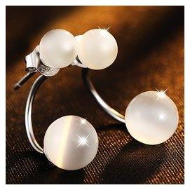 925純銀貓眼石耳釘女韓國氣質耳飾品日韓簡約甜美個耳環防過敏