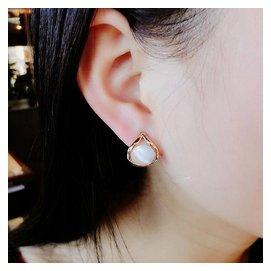 韓國飾品高端 大氣 小清新 耳環潮流 百搭心形貓眼石耳釘女