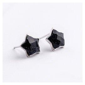 貓眼石星星耳釘女士耳環925純銀甜美氣質日韓國簡約個百搭飾品