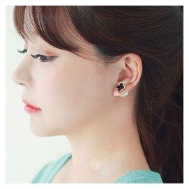 日韓 玫瑰金925純銀四葉草耳釘女 前後雙面珍珠耳環耳飾防過敏