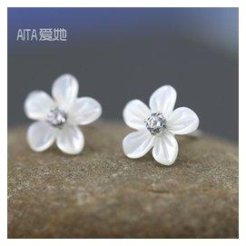 925純銀耳釘女 雕刻貝殼花朵耳環鑲鑽耳飾品日韓國甜美可愛