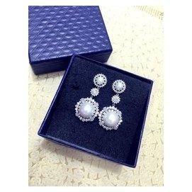 閃耀鋯石貝殼珍珠奢華新娘晚宴耳環初見如花精致高檔耳釘