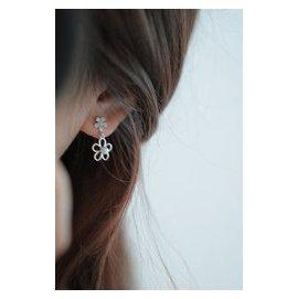 唯美耳環925純銀日韓鑲鑽鏤空五瓣花高檔貝殼珍珠耳釘女耳飾