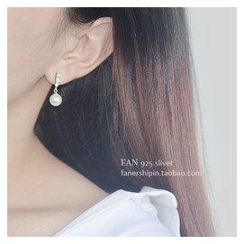 925純銀耳釘女日韓國 耳環方形鑲鑽貝殼珍珠耳飾品清新氣質
