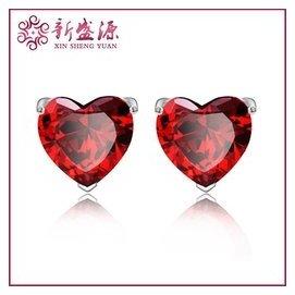 925純銀韓國 鍍白金愛心形耳釘微鑲鑽石 超閃耳環飾品廠批