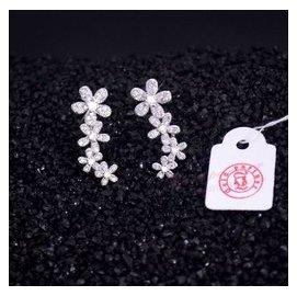 鍍白金長串花朵耳勾耳環 女 小清新甜美氣質花朵鑲鑽耳釘飾品