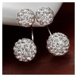 天然黃水晶耳墜925純銀鍍白金耳釘寶石首飾耳環日韓女