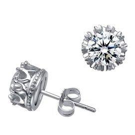 銀飾彙正品 925純銀鍍白金鑲鑽皇冠男士耳釘 女式情侶款耳環