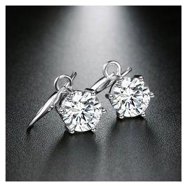 925純銀鍍白金鑲鑽女式耳環 2克拉 八心八箭瑞士鑽女式純銀耳環