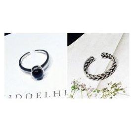 韓國銅鍍銀飾品黑瑪瑙開口食指小戒指女復古泰銀麻花 飾品潮人