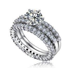 銅鑲鋯石 魅力愛情三重奏星鑽閃耀珠女士戒指指環
