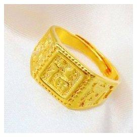 金店同款男士金指環福發財 鍍黃金戒指久不褪色黃銅鍍18真金