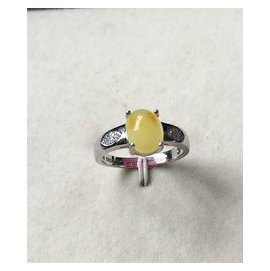 廠家直銷 天然老蜜蠟雞油黃 彩色寶石925銀鍍白金戒指 正品女士戒