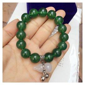 純天然綠玉髓瑪瑙單圈手鏈女款 純銀配飾葫蘆吊墜手串水晶飾品