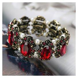 品復古民族風紅寶石水晶手鏈女 甜美珍珠手鐲彈力手串潮日韓飾