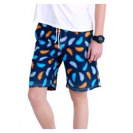 逸夏情侶速干海邊度假沙灘褲男士寬松五分褲多彩羽毛印花 短褲