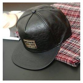 韓國PU皮質黑色純色棒球帽 男女士鴨舌帽子春秋 嘻哈情侶帽