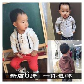 男童連帽衫春秋兒童長袖套頭t恤寶寶春裝純棉打底衫小童 衛衣
