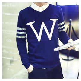 男士 大碼針織衫 修身圓領毛衣青少年線衣薄款毛衫打底衫