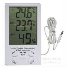金拓佳298室內外電子溫濕度計記憶水族魚缸用溫度計家用帶探頭