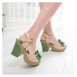 015  方頭蝴蝶結女士涼鞋高跟防水台粗跟厚底女鞋子