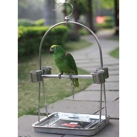 ( 中)3008寵物用品鳥籠 不�袗�鸚鵡站架 鸚鵡籠 鳥籠 鳥架子 鸚鵡架~便攜