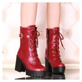 春秋女士馬丁靴女中靴 女靴子中筒靴女高跟鞋粗跟女靴大碼女鞋