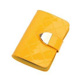 可愛多卡位卡包女真牛皮卡片包女式 卡套糖果色可愛名片夾信用卡包卡夾薄 黃色菱格紋