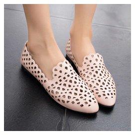透氣鏤空洞洞半涼鞋淺口低跟鞋圓頭女單鞋皮鞋