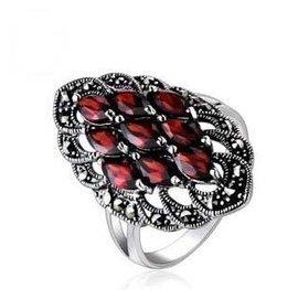 銘俊復古泰銀紅寶石戒指 指環女925純銀食指 潮人廠家直銷
