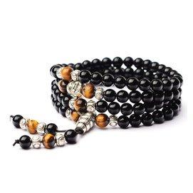 天然水晶佛珠108顆黑耀石紅瑪瑙手鏈念珠男女款多圈情侶手鏈手串