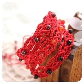 石榴石紅黑瑪瑙手鏈腳鏈女紅繩 編織 天然水晶本命年飾品