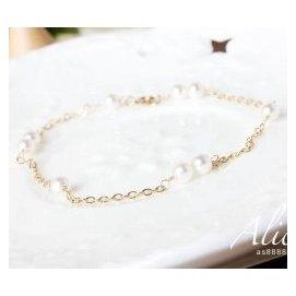 ~~ 定制 天然淡水珍珠14金女手鏈極細 韓國飾品