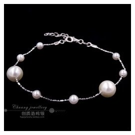 創質造925純銀飾品女士簡約圓珠大小珍珠手鏈日韓素雅女款