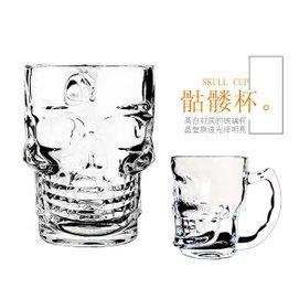 加厚耐熱玻璃杯水杯骷髏把杯啤杯飲料杯辦公居家玻璃杯茶杯杯子