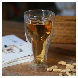 耐高溫雙層杯 翻轉玻璃杯德國啤杯洋杯 隔熱帶把水杯