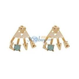 韓國 發飾品鑲鑽愛心型925純銀女生耳釘耳環 金色