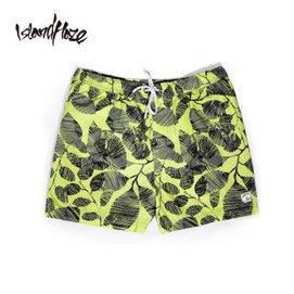 2014 男士熱帶樹葉圖案花短褲 沙灘褲衝浪五分褲 淺藍色