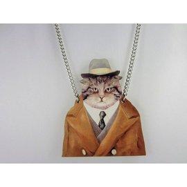 ~加購區~~獨立原創~木頭小清新戴帽子的貓咪偵探~童趣印刷動物肖像博物館~復古VINTAG