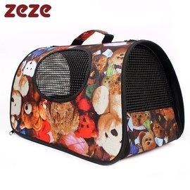 單肩手提折疊寵物包泰迪輕便貓包拎袋狗籠外出便攜包透氣狗包包