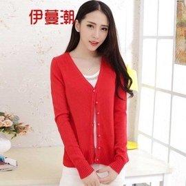 伊蔓潮 2015秋裝 羊絨針織衫修身顯瘦毛衣長袖開衫小外套短款9898 大紅色