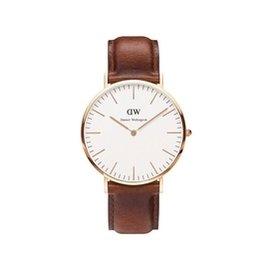 DANIEL WELLINGTON DW 手錶 40mm 皮錶帶 玫瑰金 0106DW