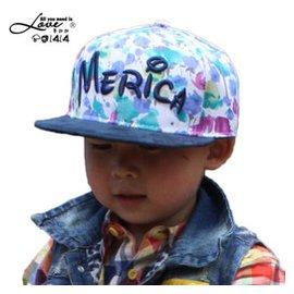 帛拉拉童帽小孩帽男兒童帽子春夏天純棉英文碎花卡通兒童嘻哈帽韓國棒球帽女童平沿帽 藍花藏青沿