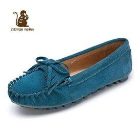 公猴 豆豆鞋女鞋流蘇平底女鞋 鞋女單鞋真皮平跟豆豆鞋182 湖水藍 37