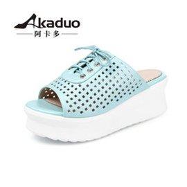 阿卡多 女鞋厚底松糕鞋學院風繫帶舒適坡跟涼拖鞋 女涼鞋13~5 藍色 39碼