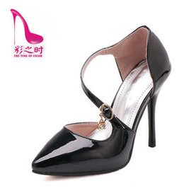 彩之時 細跟涼鞋淺口尖頭高跟鞋單鞋女 性感交叉帶弔鑽鞋 黑色 39
