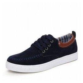 微微範 季 英倫男士帆布鞋 男鞋 鞋子 男式板鞋男靴 男 增高豆豆潮鞋 藍色 41